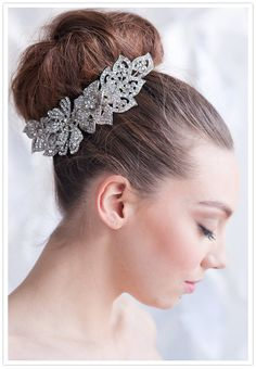 Tessa Kim Rhinestone headpiece http://www.100layercake.com/blog/2013/01/11/downton-abby-wedding-inspiration/