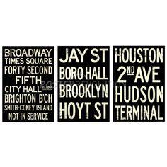 New York Vintage Subway Stops RetroMetro Three Poster Set - cm Coney Island, Sale Poster, Custom Framing, Subway Signs, New York, Chalkboard, Vintage, Bathroom, Art