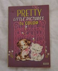 Vintage Saalfield Pretty Little Pictures to Color Coloring Book USA Akron Ohio