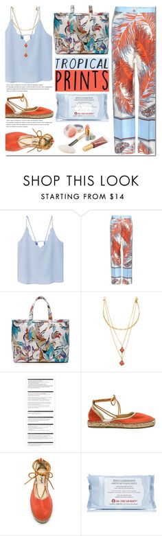 """""""Hot Tropics"""" by bibibaubau ❤ liked on Polyvore featuring MANGO, Emilio Pucci, Vanessa Mooney, Arche, Free People, First Aid Beauty, Jane Iredale, tropicalprints and hottropics"""