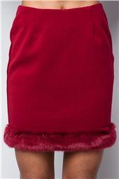 Millie Wine Faux Fur Trim Skirt