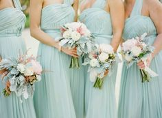 What A Beautiful Color Ohhh The Flowers Love Mint Dressbridesmaid Bouquetswedding