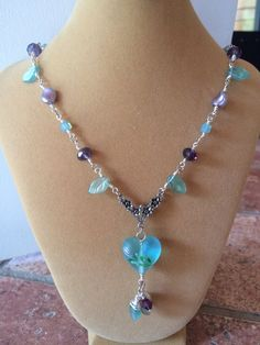 Gorgeous Aqua czech glass leaf with floral by RealBeadDesigns