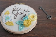 Find Joy // Embroidery Hoop Art with Felt Flowers by CatshyCrafts