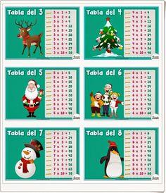 """Estas """"Tablas de multiplicar de Navidad"""" invitan a repasarlas con sus bonitos motivos navideños. De mundoprimaria.com."""