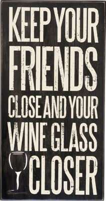 Item # 29799 | Box Sign - Wine Glass | Primitives by Kathy