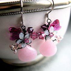 Silver Pink Blossom Earrings - jewellery