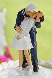 Military USN Navy Sailor Kiss Of Victory Bride Wedding Cake Topper