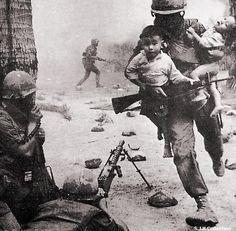 Marine saving children in Vietnam