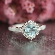 Mini Vintage Floral Aquamarine Engagement Ring 14k by LaMoreDesign. The floral+aqua is so pretty. I like the mini compared with the classic size