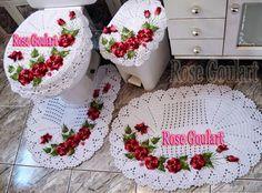 Carine Strieder e seus Crochês: Jogo de Banheiro com Flores Aplicadas