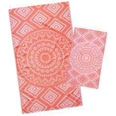 New Coral Aztec Tribal Turkish Beach Towel made by Loopys