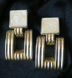 "Vintage Door Knocker Earrings textured Dangle clip on chunky Gold tone 2"" lg big #Vintage #DropDangle"