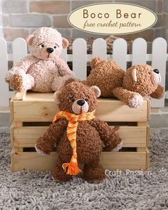 Crochet Bear boco bear amigurumi crochet pattern - Boco Bear Amigurumi is a perfect cuddly soft plush toy in huggable size. It is crochet from fuzzy yarn to give a soft Bag Crochet, Crochet Gratis, Crochet Patterns Amigurumi, Cute Crochet, Crochet Dolls, Crochet Teddy Bear Pattern, Crochet Animal Patterns, Stuffed Animal Patterns, Stuffed Animals