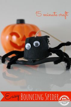 Easy Halloween craft for kids - bouncing spider - Pinned by @PediaStaff – Please Visit  ht.ly/63sNt for all our pediatric therapy pins