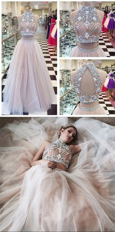 Two Piece A line Tulle Beading Pretty High Neck Prom Dresses,2 pieces Evening Dresses - Thumbnail 2
