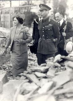 London, during WWII. The King and Queen visiting areas hit by the bombing.
