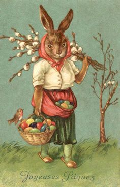 Joyeuses Paques Bunny Rabbit Easter Eggs from Vintage Postcard Magnet | eBay