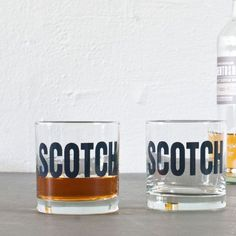 SCOTCH  hand printed rocks glasses set of 2 by vital on Etsy, $21.00