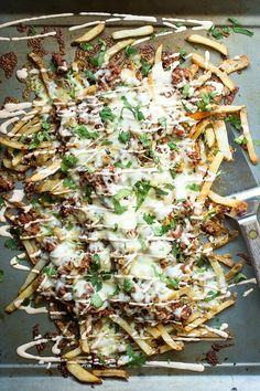 Crispy french fries topped with chorizo, grilled onions and melted cheese