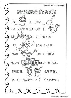 maestra Nella: poesie illustrate Baby Words, Italian Language, Learning Italian, Summer School, Nursery Rhymes, Back To School, Teaching, Gaia, Google