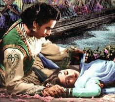 A still from the Indian classic - Dilip Kumar and Madhubala from Mughal-e-Azam