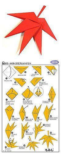 DIY origami paper maple leaf! :D