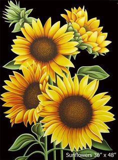 DIY diamond embroidery square diamond full diamond embroidery sunflower Painting home decoration gifts mural wall sticker Beads One Stroke Painting, Tole Painting, Painting & Drawing, Painting Lessons, Sunflower Pictures, Sunflower Art, Sunflower Drawing, Sunflower Paintings, Art Floral