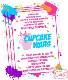 ****Cupcake Wars Baking Party Invitation****  Inspired by the Food Networks Cupcake Wars. I hosted this party for my daughters 8th birthday and it