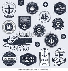 stock vector : Set of vintage retro nautical badges and labels