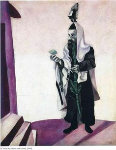 Feast Day (Rabbi with Lemon) - Marc Chagall ( 1914 ) Marc Chagall, Fauvism, Jewish Art, Art Database, French Artists, Impressionist, Photo Art, Retro, Modern Art