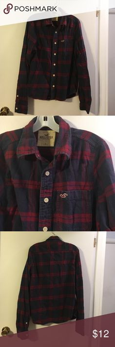 Hollister blue/red flannel shirt Cotton Hollister Shirts Casual Button Down Shirts