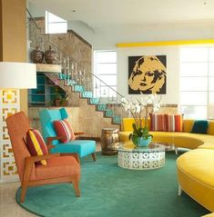 Nice Retro home decor ideas - Positively awesome decorating suggestions. retro home decor shabby chic wonderful example reference 8788143017 generated on this day 20190615 Retro Living Rooms, Colourful Living Room, Mid Century Modern Living Room, Mid Century Modern Decor, Living Room Modern, Mid Century Design, Living Room Designs, 1970s Living Room, Deco Boheme Chic