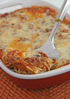 Spaghetti met champignons in de oven