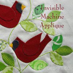 Invisible Machine Applique Tutorial by Petit Design Co. Machine Applique Designs, Hand Applique, Machine Embroidery Applique, Applique Patterns, Applique Quilts, Machine Quilting, Quilt Patterns, Embroidery Stitches, Quilting Tutorials