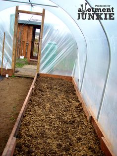 Getting ready for spring - my new raised bed in the polytunnel ; Build A Greenhouse, Greenhouse Ideas, Growing Vegetables, Raised Beds, Vegetable Garden, Railroad Tracks, Gardening Tips, Wilderness, Layout