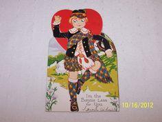 Carrington Co Die Cut Mechanical Valentine Cards Scottish Boy - E