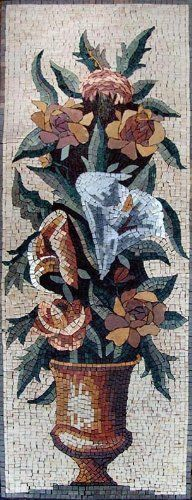 """16x44"""" Flower Mosaic Art Tile Mural Wall Decor by mozaico. $299.00. Mosaics have endless uses and infinite possibilities! They can be used indoors or outdoors, be part of your kitchen, decorate your bathroom and the bottom of your pools, cover walls and ceilings, or serve as frames for mirrors and paintings."""