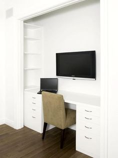"""The Minimalist Closet Transformation For the minimalist at heart, consider a very streamlined closet-turned-office in your home. The vertical area inside the closet visually extends the space. A few coats of Decorator's white paint and clean door edges will create a built-in design aesthetic that sheds any idea of """"this used to be a closet."""" Photo courtesy of Clos-ette."""