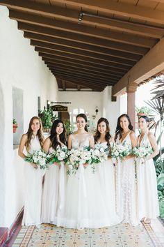32 All White Bridesmaid Dresses #cottonbridesmaidsdresses #modernbridalpartylooks #mismatchedbridesmaiddresses #whitebridesmaidsdresses
