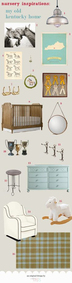 """Nursery Decor: """"My Old Kentucky Home"""" (I *love* this! Add in some vintage Little Colonel books, scalloped white linen, a southern landscape oil painting, and some rose-print fabric for a girly version.)"""