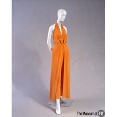 People and Brands: Designer: Irene Galitzine 1916 - 2006  Medium: Orange crepe Date: 1968 Country: Italy Credit: Gift of Vera Gawansky This ensemble consists of palazzo pants, a halter top, and a belt. Object Number: 78.46.1