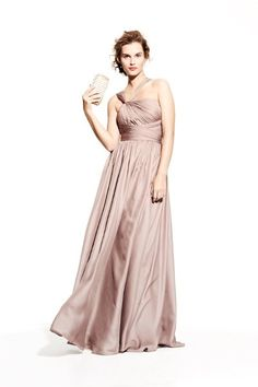 Style No. 502252  A knotted twist pulls aside the gathered straps of a chiffon Monique Lhuillier Bridesmaid gown shaped with a wide asymmetrical sash waistband that sets off the long swirling skirt.