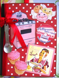 SO CUTE!  this lady is crafy and has an Etsy store - check it out....Retro Kitchen Recipe Cookbook Journal by sassysadielee on Etsy, $18.00