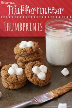 Flourless Fluffernutter Thumbprint Cookies - a classic peanut butter cookie topped with marshmallows are a super fun treat!   cupcakesandkalechips.com   gluten free