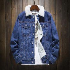 Denim Jacket Men's Cotton Casual Fleece Warm Bomber Jacket Men Jean Jacket Bomber Jacket Winter, Denim Bomber Jacket, Denim Coat, Latest Shirts For Mens, Mens Brown Shirt, Black Button Up Shirt, Jean Jacket Outfits, T Shirts Uk, Summer Shirts