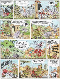 Viñetas de la historieta «El Sulfato Atómico» de Francisco Ibáñez. Publicada de forma serializada entre el 27 de enero de 1969 en la revista Gran Pulgarcito. Posteriormente fue recopilada en el Super Humor nº 21 (Ediciones B, 1995 1ª e. y 1997 2ª e.).
