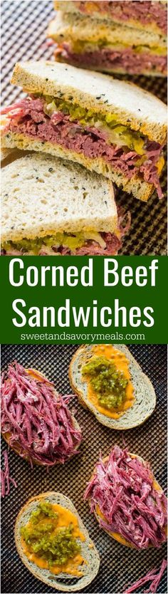 Corned Beef Sandwiches are the homemade take on the classic deli sandwiches of corned beef with toasted rye bread, sauerkraut and Russian dressing. #sandwich #slowcooker #beef