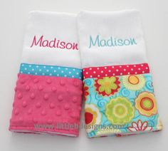 Personalized Burp Cloth Set - Over 24 Minky and Cotton Fabrics Available Baby Burp Cloths, Burp Cloth Set, Girls Quilts, Baby Quilts, Baby Embroidery, Machine Embroidery, Sewing For Kids, Baby Sewing, Sewing Crafts