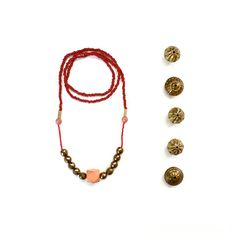 Red Beaded Long Necklace With Golden Beads and Geometric Salmon Wood Bead / Strand Necklace / Pendant Necklace / Colorful Chunky Necklace on Etsy, $24.00